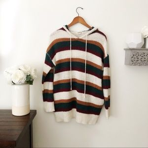 Listicle striped hooded sweater with pockets large